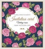 Vector Grußkarte mit den roten und rosa Rosen in der Weinleseart Stockfotografie