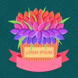 Vector Grußkarte mit Platz für Text mit Korb von Blumen und von Text lorem ipsum Lizenzfreies Stockfoto