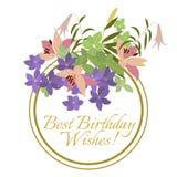 Vector Grußkarten-Rosalilie und violette Arabisblumenanordnung Lizenzfreies Stockbild
