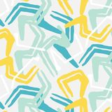 Vector grunge abstract expressive pattern. Brush stroke minimalistic print in grey blue colors. Pastel fresh dynamic Stock Images