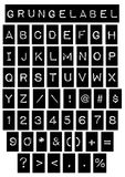 Grunge Label Font. Vector grunge alphabet of a Label font including numbers and symbols Stock Photography