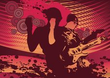 Vector grunge background. Vector illustration with vigorous guitar player in grunge style Royalty Free Stock Image