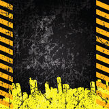 Vector grunge background with caution stripes Royalty Free Stock Images