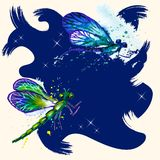 Vector grunge background with dragonflies Stock Photo