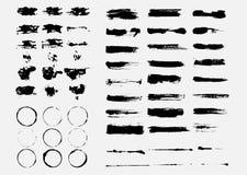 Vector grunge background. Set of black blots and ink splashes Stock Photo