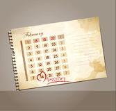Vector grunge background for Valentine's day, with the calendar Stock Photos