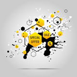 Vector grunge background with yellow geometric elements. Ink blots and hexagons Stock Photos