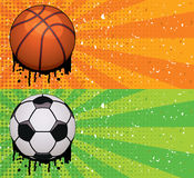 vector grunge basketball and soccer backgrounds Royalty Free Stock Photos