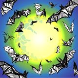 Vector grunge bats flying in night Royalty Free Stock Image