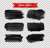 Grunge black watercolor brush strokes. Vector grunge black watercolor brush strokes isolated on transparency background royalty free illustration