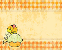 Vector grunge checkered background with dessert. Retro style for design Stock Images