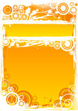 Vector grunge circle background in orange with highlighted title bar.  Stock Photo