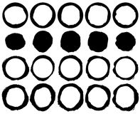 Vector grunge circles. Set of 20 abstract grungy round frames, silhouette borders Stock Images