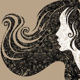 Vector grunge Closeup decorative vintage woman. With beautiful long hair (From my Vintage woman collection stock illustration