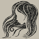 Vector grunge Closeup decorative vintage woman royalty free illustration