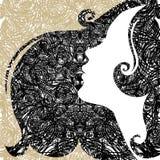 Vector grunge Closeup decorative vintage woman Stock Photos
