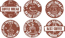 Vector grunge coffee stamp set. In brown color vector illustration
