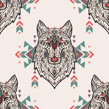 Vector grunge colorful seamless pattern with tribal style wolf with ethnic ornaments Royalty Free Stock Images