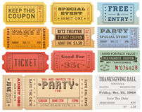 Vector Grunge Colorful Tickets Templates. A comprehensive set of high detail Vintage grunge Tickets and Coupons, suitable for paper or web publishing Stock Images