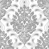 Vector grunge damask seamless pattern element. Classical luxury old fashioned damask ornament, royal victorian seamless Stock Photography