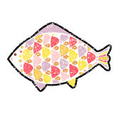 Vector grunge fish icon on background. EPS Royalty Free Stock Images