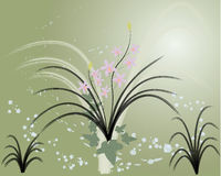 Vector grunge floral background. Orchid Royalty Free Stock Photos