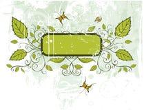 Vector grunge floral frame. Floral frame on a grunge background Stock Photos
