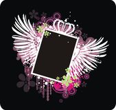 Vector grunge frame. For your text or photo with wings, crown and flowers Stock Image