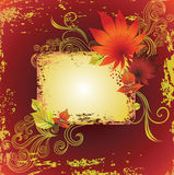 Vector grunge frame with leafs. Thanksgiving Stock Illustration