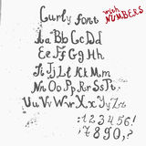 Vector Grunge full Handwritten curly calligraphic Royalty Free Stock Images