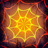 Vector grunge Halloween dark background. Hand drawn spider web. Purple and orange Stock Images