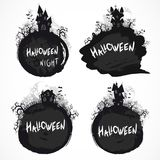 Vector grunge Halloween illustration with castles. Royalty Free Stock Photography