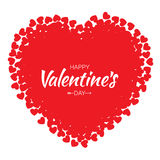 Vector Grunge Heart with red Hearts Valentines Day card Background. Stock Image
