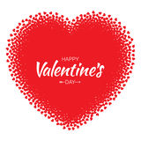 Vector Grunge Heart with red Hearts Valentines Day card Background. Royalty Free Stock Photo