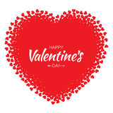 Vector Grunge Heart with red Hearts Valentines Day card Background. Stock Photo