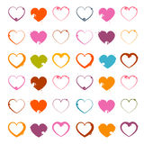 Vector Grunge Heart Symbols Set Royalty Free Stock Image