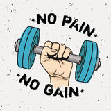 Vector grunge illustration of hand with dumbbell and motivational phrase `No pain no gain` Royalty Free Stock Photography