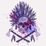 Vector grunge illustration of human skull in native american indian chief headdress Stock Image