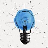 Vector grunge illustration with light bulb Stock Photo