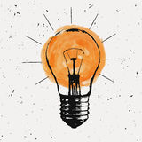 Vector grunge illustration with light bulb Royalty Free Stock Photography