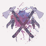 Vector grunge illustration of native American indian tomahawks Stock Photography