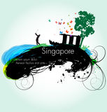 Vector grunge illustration of Singapore Stock Images