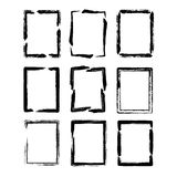 Vector grunge ink brush square border sets Stock Image