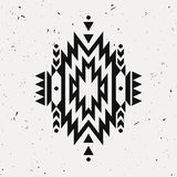 Vector grunge monochrome decorative ethnic pattern. American indian motifs. Background with black aztec tribal ornament Royalty Free Stock Photo