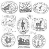 Vector Grunge Monument Stamps. Hi detail collection of monument and culture icon stamps from all over the world Royalty Free Stock Photo