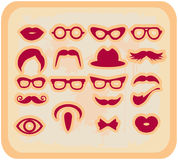 Vector grunge Mustaches and other Accessories Set. Silhouettes Royalty Free Stock Photos
