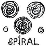Vector grunge organic ink textured spiral set. Abstract design elements set. stock illustration