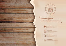 Vector grunge paper on wooden wall Stock Image