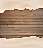 Vector grunge paper on wooden wall Stock Photography