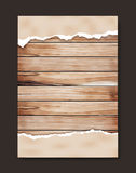 Vector grunge paper on wooden wall. Grunge paper on wooden wall, Vector illustration design in A4 size  Image trace of wooden background Royalty Free Stock Photo